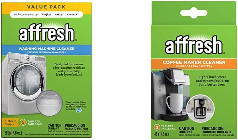Affresh Washing Machine Cleaner | Cleans Front Top Load Washers, Including HE, 5 Tablets & Coffee Maker Cleaner | Compatible with multi-cup coffeemakers and single serve brewers, 3 Tablets, 3 Pack