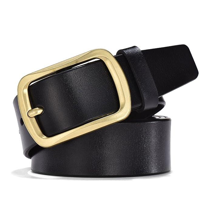 0785b48cbcd Wellcce Cinturones de hombre 100% Cuero Cinturones de Piel Cinturón jeans  Cinturón de hebilla de