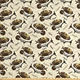 Zeppelin Decor Fabric by the Yard by Ambesonne, Military Style Aircrafts Motif in Dark Tone Flying Adventure Graphic, Decorative Fabric for Upholstery and Home Accents, Cream Cocoa Khaki