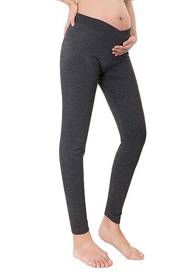 10edaa82ec7c0 Women Maternity Belly Support Mini-Ribbed Stretch Long Leggings Deep Grey XL