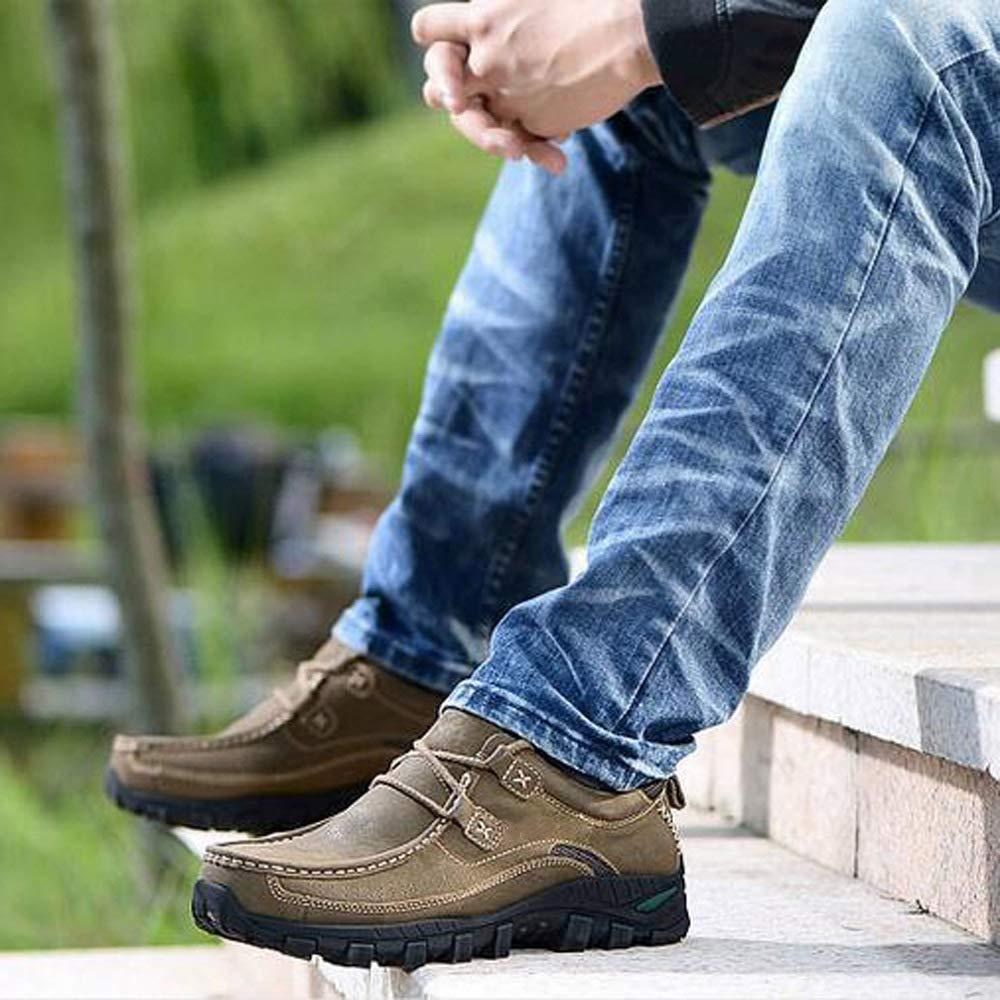 WANG-LONG WANG-LONG WANG-LONG Chaussures Homme Bottes Martin De Ran ée Rétro Respirantes Antidérapantes Extérieures en Cuir,Black-42 ad05c8