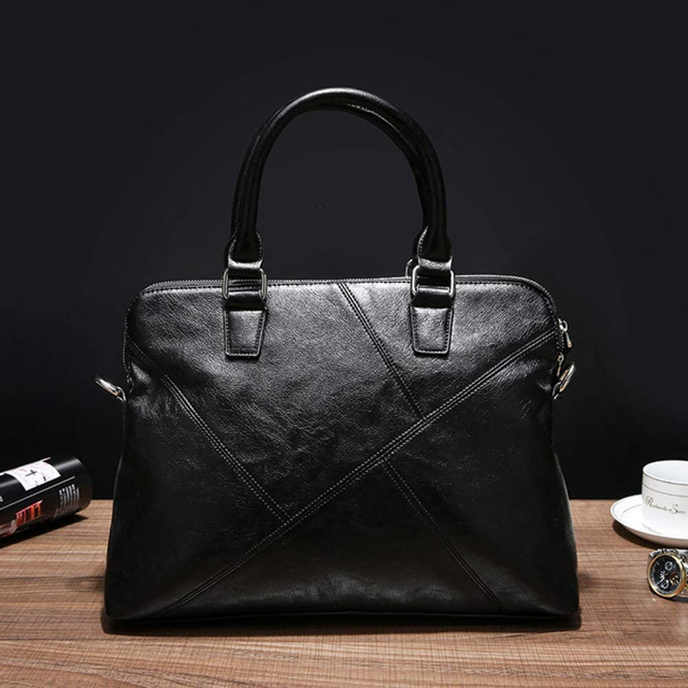 AIURBAG PU Leather Briefcase Laptop Handbag Messenger Business Bags for Men Black