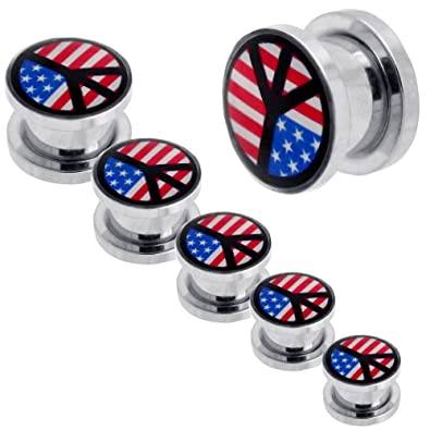 tumundo 1x Set Kit Túnel Dilataciones Acero Inoxidable Pendientes Piercing Expansor Stretcher USA Stars Estrella Peace: Amazon.es: Joyería