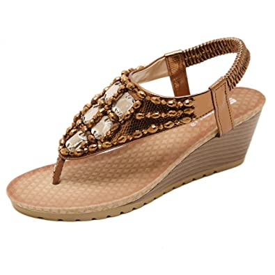 49ce7fa0ce13 Gaatpot Bohemia Elastic Strappy Sandals Rhinestone Wedge Dress Sandals  Summer Beach Clip Toe Shoes Women s