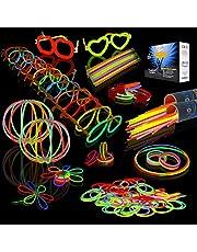 "JOYIN Glow Sticks Bulk 200 8"" Glowsticks (Total 456 PCs 7 Colors); Bracelets Glow Necklaces Glow-in-The-Dark Light-up July 4th Halloween Party Supplies Pack"