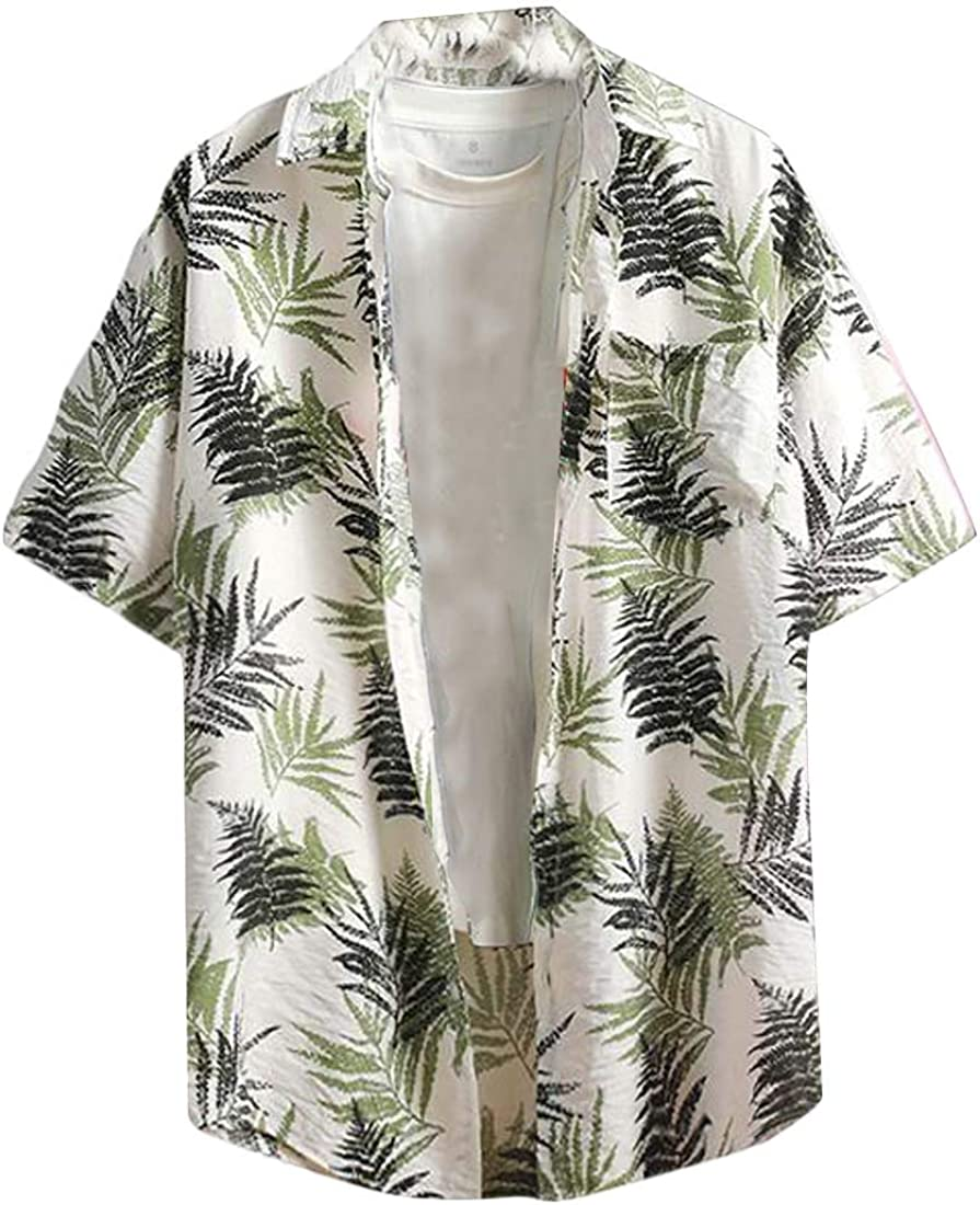 Xswsy XG Men Banana Leaves Button Down Casual Slim Short Sleeve Hawaiian Shirt