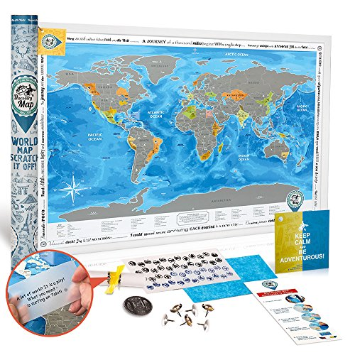 Scratch off Poster World Map PREMIUM QUALITY Large Size 24X35