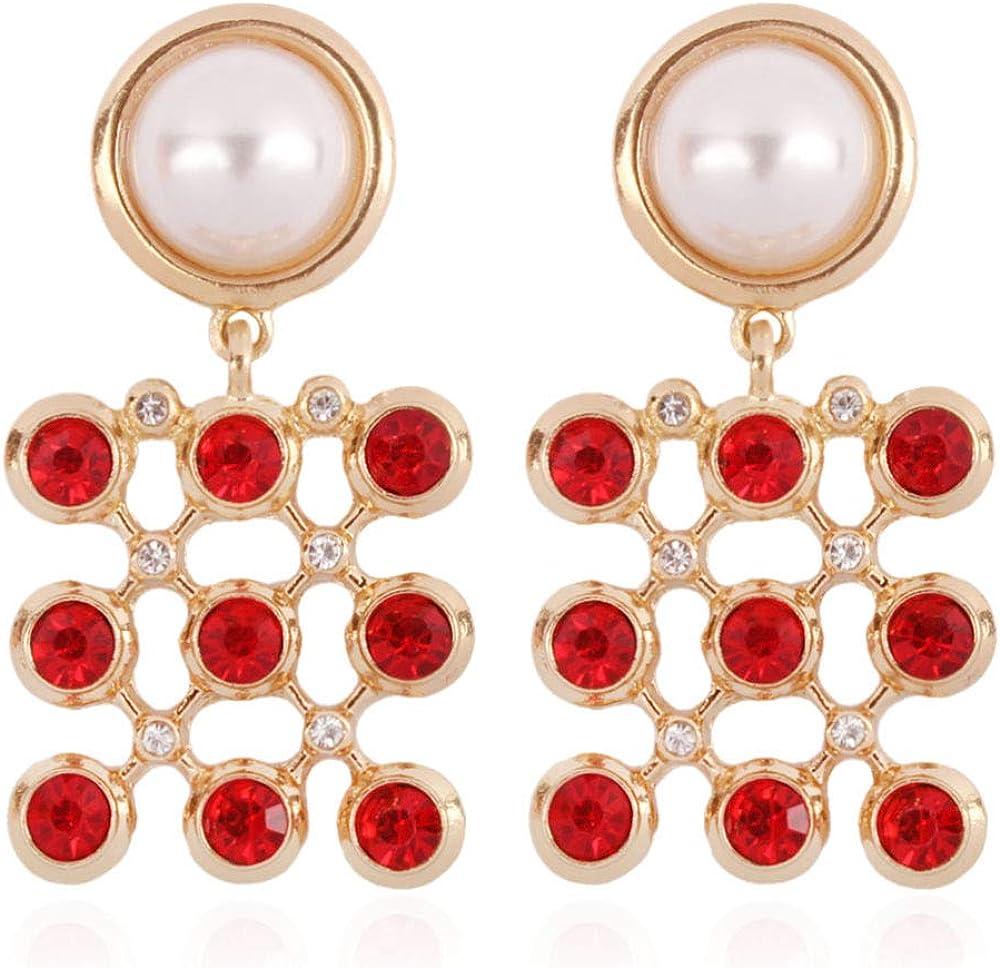MKmd-s Pendientes Personalizados exquisitos, Elegantes Pendientes con Perlas de imitación, exquisitamente diseñados para hacerte más Rojo Brillante