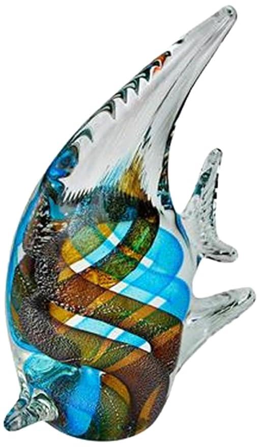 Rhode Island Novelty OGNGAF1 7.25 x 6 Glass Blown Blue//Brown Angel Fish