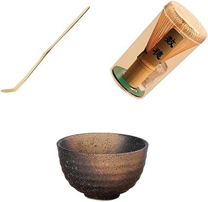 Set Matcha En Ceramique Bol 230 ML Support The japonais Fouet Bambou Naturel