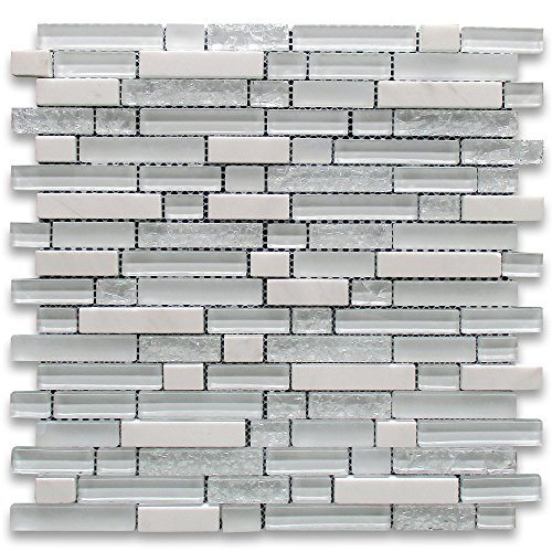 White and Crackled Glass Mix White Marble Random Brick Mosaic (Frosted Glass Tiles)