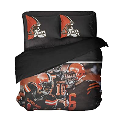 3 Cool Cleveland Football Players Bedspread Sets Modern Graphic Quilt Coverlet for Fandom (Multi, Full 3pcs): Kitchen & Dining
