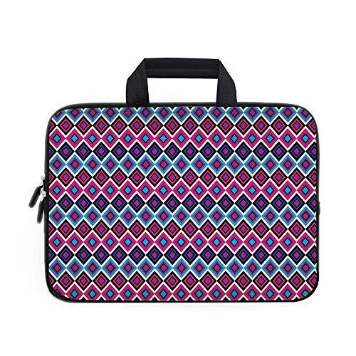 Funda geométrica de neopreno para portátil, paleta de colores vibrantes con espirales y curvas, formas geométricas...