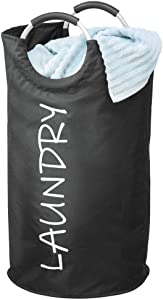 mDesign Collapsible Fabric Laundry Hamper Bag with Handles - Portable and Foldable for Compact Storage - Single Hamper Design, Novelty Print - Black/White