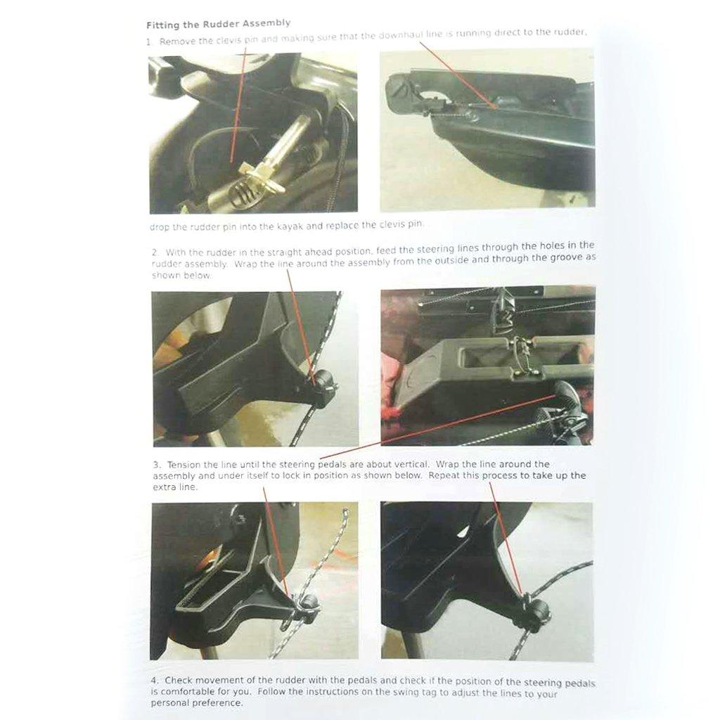 Black Sharplace 1Pcs Adjustable Kayak Rudder with Steering System