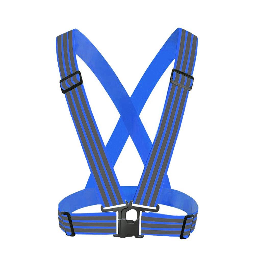 Enjoysports Verstellbare Starke Lichtreflektierende Weste Laufbekleidung Satety Schärpe Taillengürtel Streifen Jacke Hohe Sichtbarkeit Arbeitskleidung Weste, blau