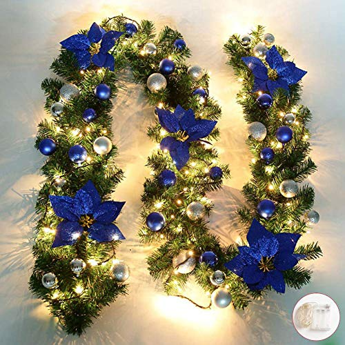 Queta Adornos Guirnalda de Navidad, Guirnalda de Abeto Decoración Navideña con Flores Lámparas Hermosas Decoración Navideña para Escaleras, Paredes, Puertas 2.7m (Azul)