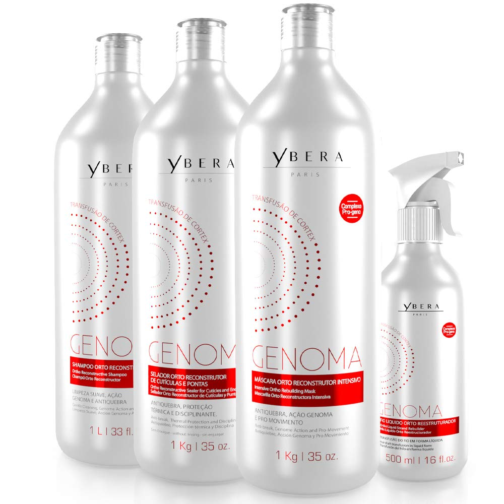 Ybera Genoma Cortex Transfusion Therapy | Restores the DNA of the Capillary Fiber | Renews the Cortex of the Strand to its Original State | Softness, Shine and Restructure Roots to Ends | Set of 4 by YBERA PARIS