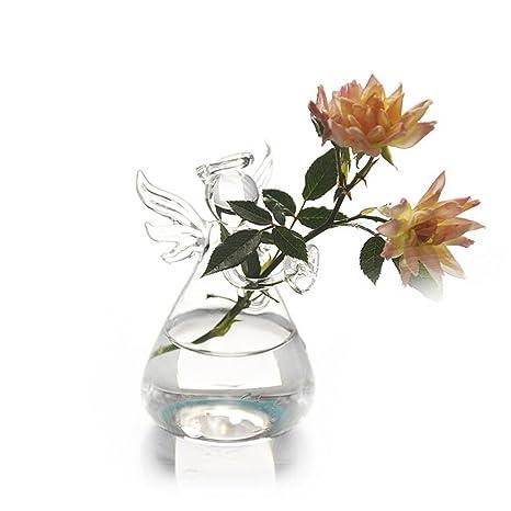 Skyeye Transparente Ángel En Forma de Jarrón de Cristal Decoración de la Planta Florero de Cristal
