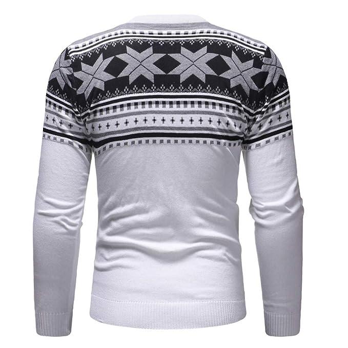 Overdose Camisa Hombres OtoñO Invierno Pullover Top De Punto TripulacióN Cuello Impreso Moda SuéTer De Navidad Outwear Blusa: Amazon.es: Ropa y accesorios