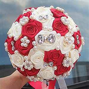 Advanced Customization Romantic Wedding Bride Holding Bouquet Roses Diamond Pearl Ribbon Red Ivory 20cm 7.8 inch 119
