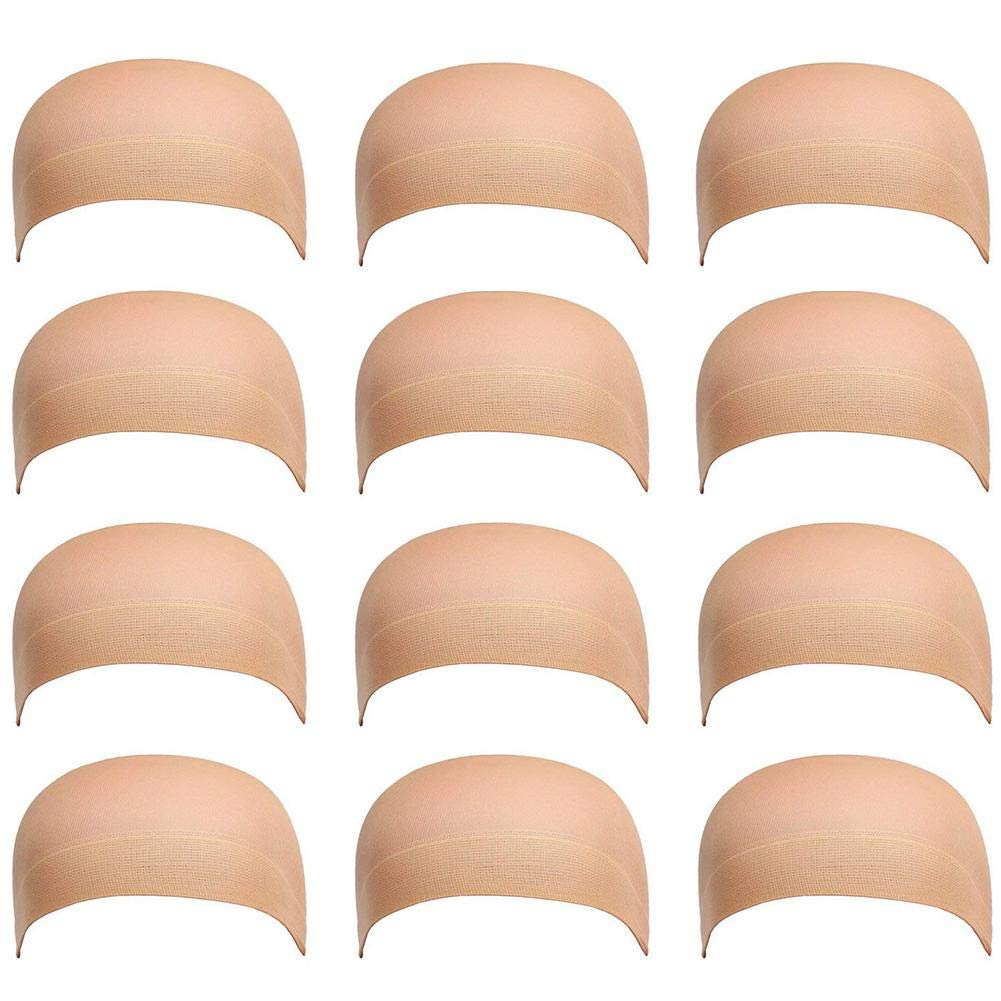 12 Pack Dreamlover Beige Stocking Wig Caps Flesh Color Stretchy Nylon Close End Wig Caps TOTALSHOP