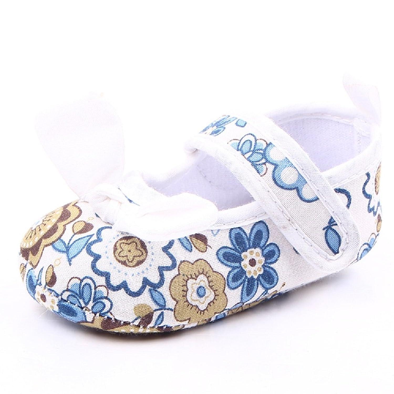 WAZZIT Baby Girls Flower Bowknot Anti-Slip Soft Sole Velcro Breathable Canvas Prewalker Sneakers