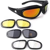 Bernard Bertha Polarized Motorcycle Riding Glasses Goggle Kit Padded Motorcycle Glasses Black Frame with 4 Lens Kit for…