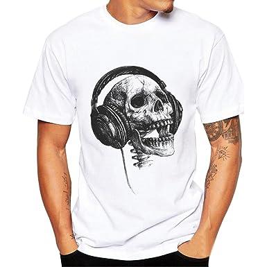 HUIHUI Oversize Vintage Herren T Shirt 3D Schädel Drucken