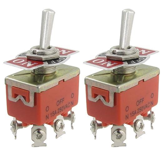 4 opinioni per SODIAL (R) 2 Pz AC 250V 15A Amp ON / OFF / ON 3 Posizione DPDT interruttore a