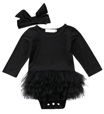 849d8b8cd509 ThreeC Newborn Baby Girls Little Black Dress Long Sleeve Bodysuit Tutu  Ruffle Lace Romper (70