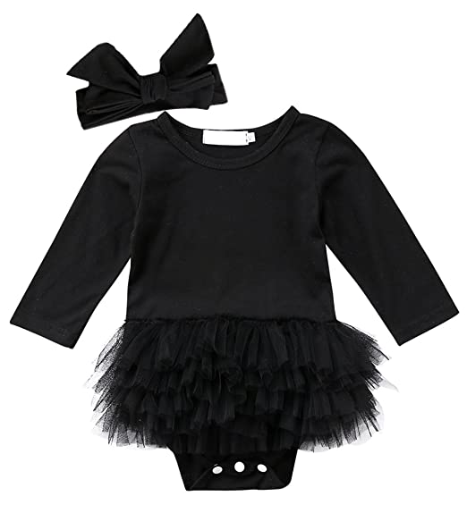 Amazon Threec Newborn Baby Girls Little Black Dress Long Sleeve