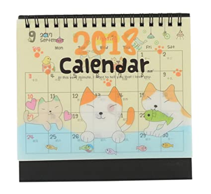 2018 Creative Cute Nota calendario de escritorio, dibujos animados gatos y peces