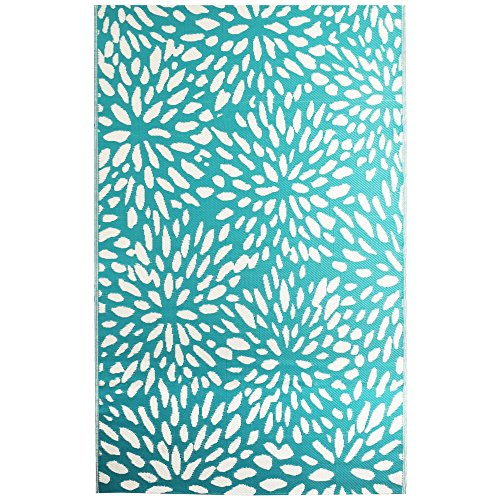 g Collection - Floral Dark Turquoise 6'X9' Reversible Picnic and Beach Area Rug, Perfect for Patio, Camping, BBQ & More ()