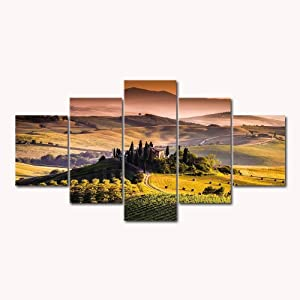 "5 Panels Modern Home Decor HD Print Canvas Paintings Tuscany Italy Landscape Wall Art Posters Bedroom (003,22""x40"" No Frame)"