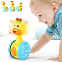Gemini_mall Cartoon Giraffe Tumbler Doll Roly-poly Baby Toys Cute Rattles Ring Bell Newborns 3-12 Month Early Educational Toy