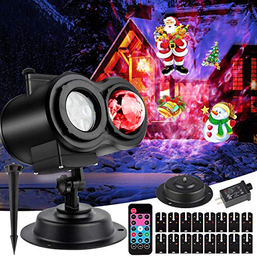 Christmas Ocean Wave Projector Lights - Mworld 2-in-1 Moving Patterns with Ocean Wave Novel Gift Light Projector Waterproof Xmas Theme Party Yard Garden Ceiling Floor Decoration, 16 Slides, 10 Colors for $<!--$19.99-->
