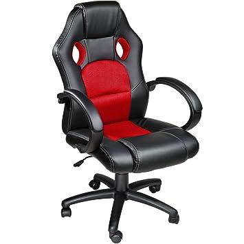 TecTake Silla de escritorio de oficina, Racing - disponible en diferentes colores (Rojo)