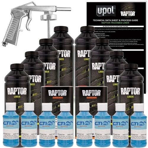 U-POL Raptor Safety Blue Urethane Spray-On Truck Bed Liner & Texture Coating W/Free Spray Gun, 8 Liters