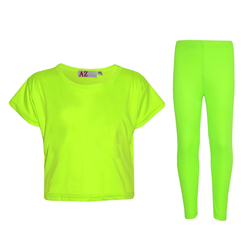A2Z 4 Kids® Girls Top Kids Plain Color Stylish Crop Top & Fashion Legging Set Age 5 6 7 8 9 10 11 12 13 Years