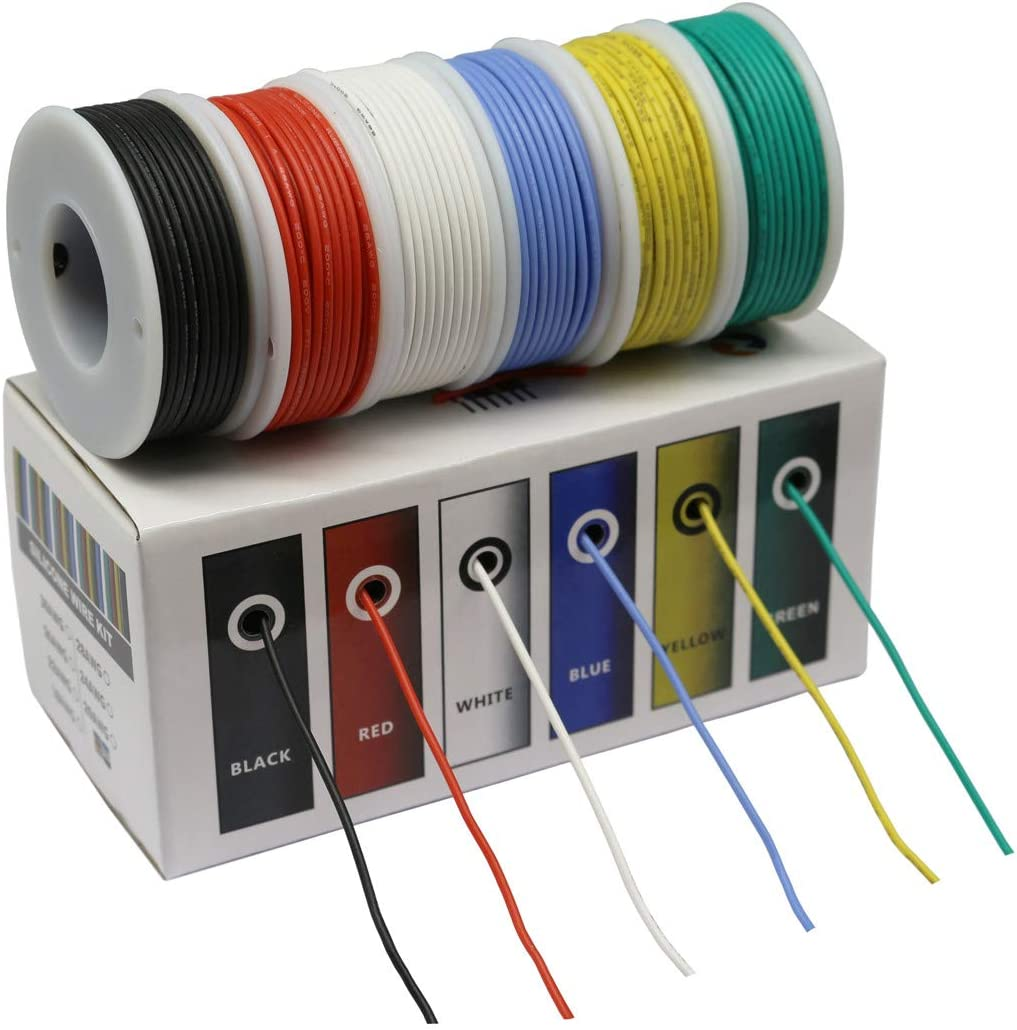 cbazy hook up wire kit (stranded wire kit) 30 gauge flexible silicone  rubber electric wire 6 colors 32.8 feet each 30 awg - - amazon.com  amazon.com