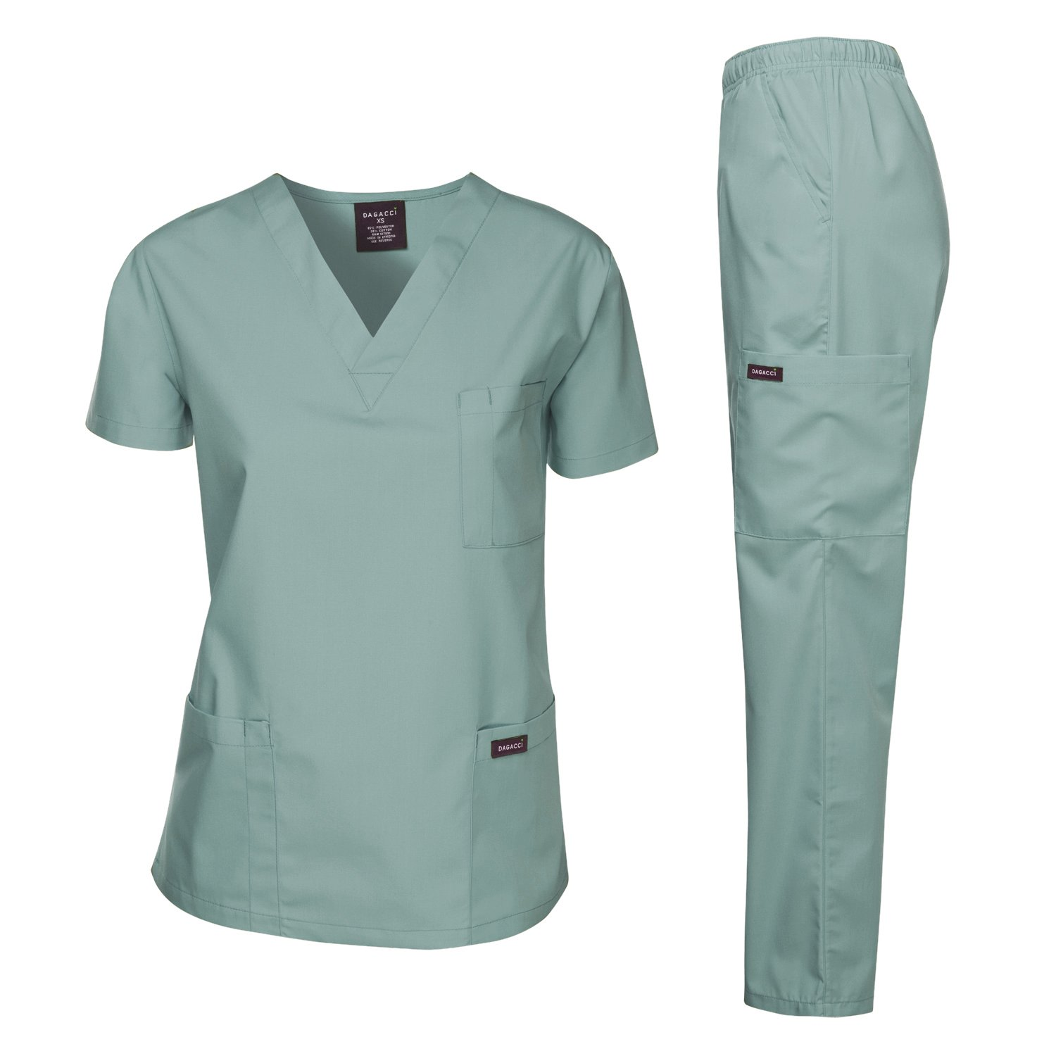 Dagacci Medical Scrubs Uniform Women and Man Scrubs Set Scrubs Medical Top and Pants (Seaform, X-Small)