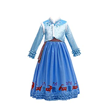 QSEFT Vestidos De Princesa para Niñas Princesa Niñas Reina De La Nieve  Fiesta Cosplay Niños Traje 32564ec690a