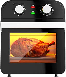 COSTWAY 1600W Air Fryer Oven, 12.7QT Large Capacity Air Fryer Oven with Rotisserie, Dehydrator, Multifunctional Cooking Oven with 10 Accessories, Viewing Window, Interior Light, Pause and Rotating Function, Black