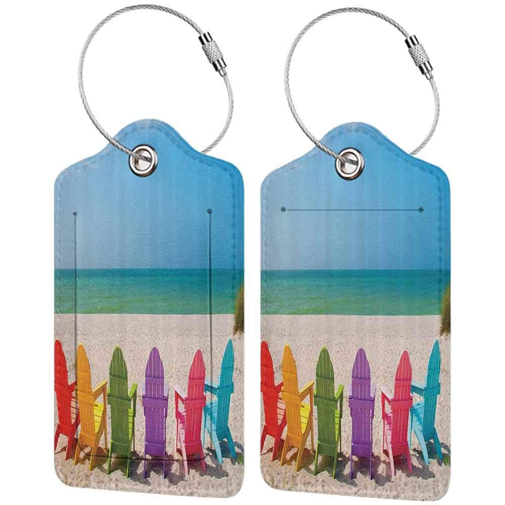 Modern luggage tag Ocean Decor Collection Colorful Sunbeds Beach Picture Seaside Coastal Summer Artwork Prints Suitable for children and adults BluePinkPurpleYellow W2.7 x L4.6