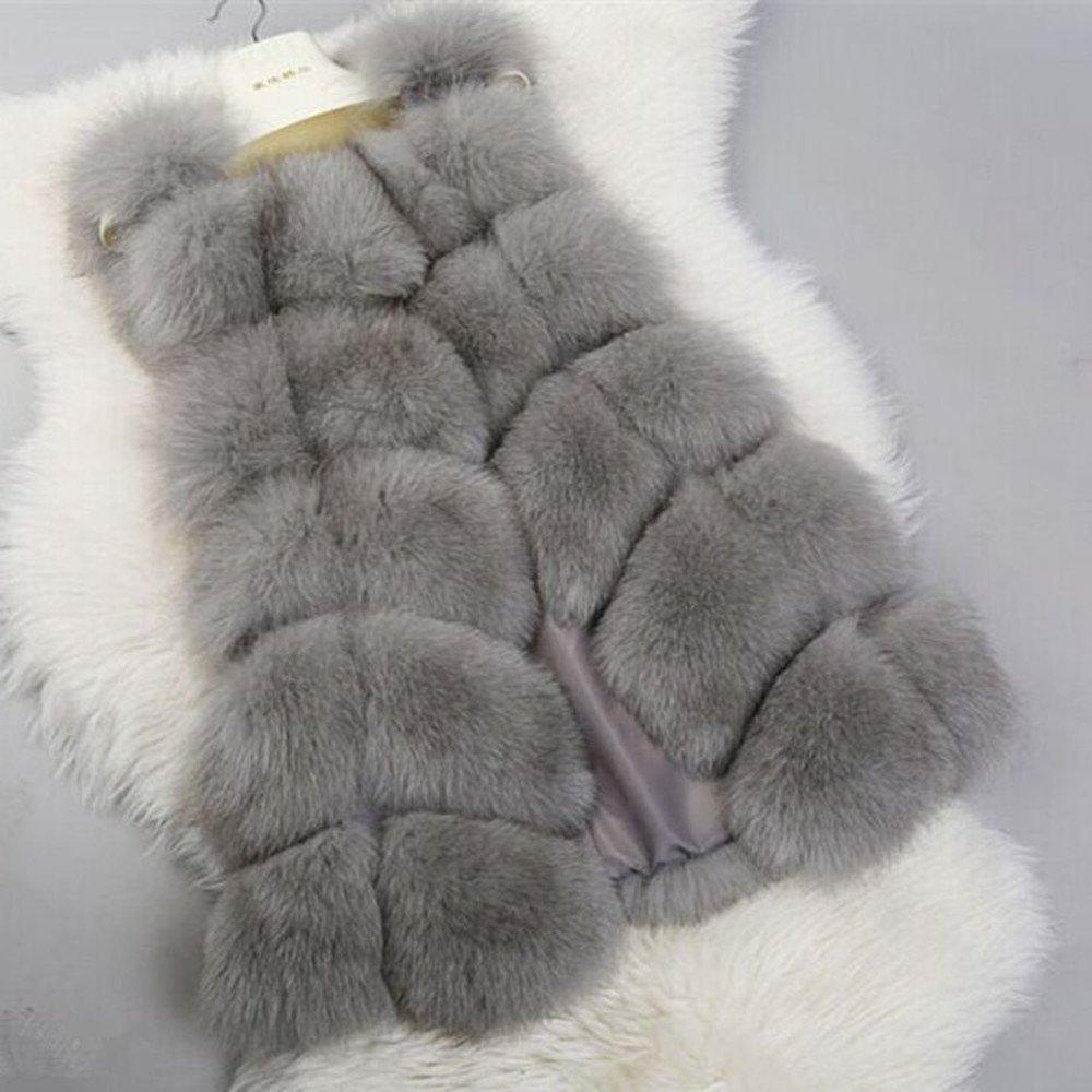 Women Faux Fur Long Vest Gilet Sleeveless Vest Outerwear Faux Fur Win