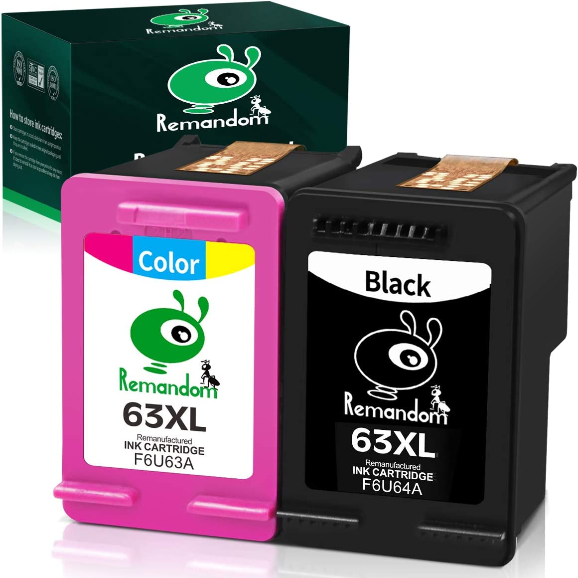 Remandom Remanufactured Ink Cartridge 63 Replacement for HP 63XL Used in HP Officejet 3830 5255 4650 3831 4655 HP Envy 4520 4516 Deskjet 2130 2132 1112 3630 3633 3634 Printer (1 Black+1 Tri-Color)