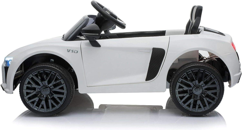 Roues EVA Douces Moteur 2X 35 W RIRICAR Voiture /électrique R8 Small sous Licence dorigine Portes ouvrantes Batterie 12 V t/él/écommande 2,4 GHz aliment/é par Batterie Blanc Suspension