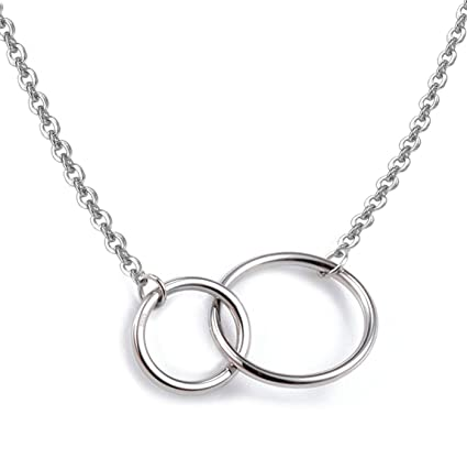 925 Sterling Silver Mother and Daughter Interlocking Two-Circle Pendant Necklace, 16