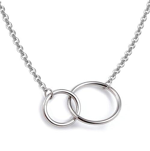 f9f9430a743d Collar plata de ley S925 con entrelazados dos círculos colgante collar
